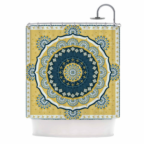 "Nandita Singh ""Chakra"" Yellow Blue Digital Shower Curtain"