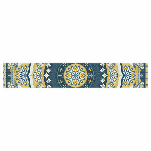 "Nandita Singh ""Chakra"" Yellow Blue Digital Table Runner"