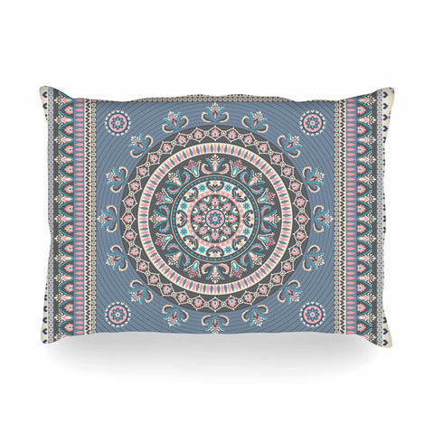 "Nandita Singh ""Chakra - Blue And Purple"" Blue Purple Digital Oblong Pillow"