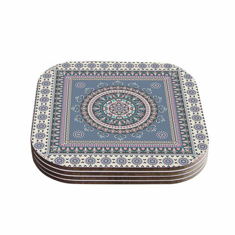 "Nandita Singh ""Chakra - Blue And Purple"" Blue Purple Digital Coasters (Set of 4)"