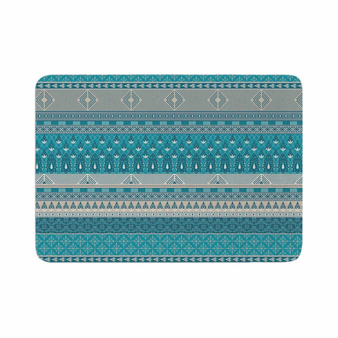 "Nandita Singh ""Maya"" Blue Teal Digital Memory Foam Bath Mat"