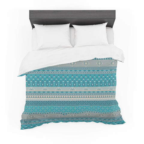 "Nandita Singh ""Maya"" Blue Teal Digital Featherweight Duvet Cover"