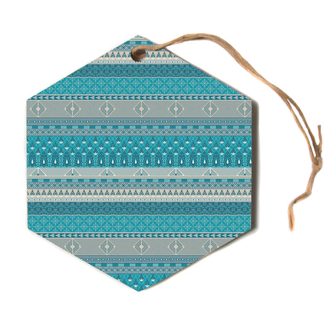 "Nandita Singh ""Maya"" Blue Teal Digital Hexagon Holiday Ornament"