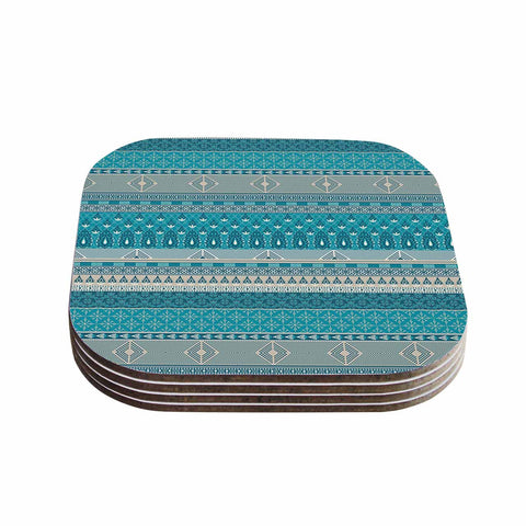 "Nandita Singh ""Maya"" Blue Teal Digital Coasters (Set of 4)"