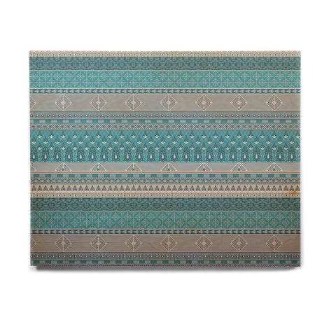 "Nandita Singh ""Maya"" Blue Teal Digital Birchwood Wall Art"