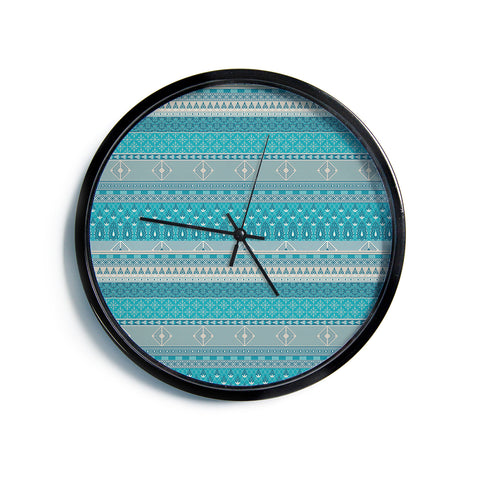 "Nandita Singh ""Maya"" Blue Teal Digital Modern Wall Clock"
