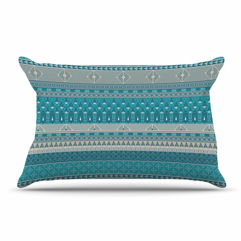 "Nandita Singh ""Maya"" Blue Teal Digital Pillow Sham"