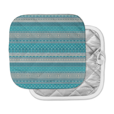 "Nandita Singh ""Maya"" Blue Teal Digital Pot Holder"