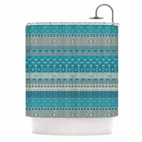 "Nandita Singh ""Maya"" Blue Teal Digital Shower Curtain"