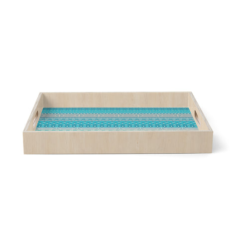 "Nandita Singh ""Maya"" Blue Teal Digital Birchwood Tray"