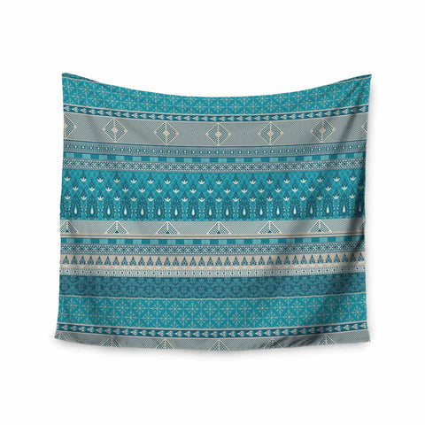 "Nandita Singh ""Maya"" Blue Teal Digital Wall Tapestry"