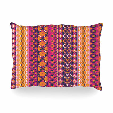 "Nandita Singh ""Banjara-Purple And Pink"" Purple Pink Digital Oblong Pillow"