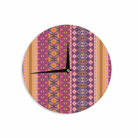 "Nandita Singh ""Banjara-Purple And Pink"" Purple Pink Digital Wall Clock"