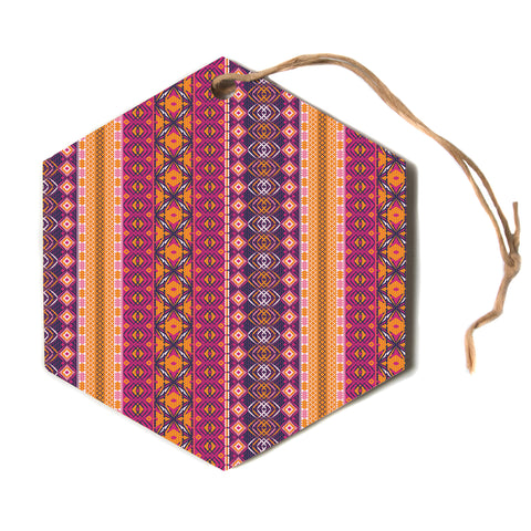 "Nandita Singh ""Banjara-Purple And Pink"" Purple Pink Digital Hexagon Holiday Ornament"