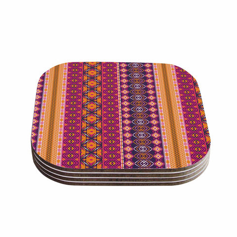"Nandita Singh ""Banjara-Purple And Pink"" Purple Pink Digital Coasters (Set of 4)"