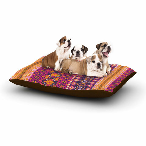 "Nandita Singh ""Banjara-Purple And Pink"" Purple Pink Digital Dog Bed"