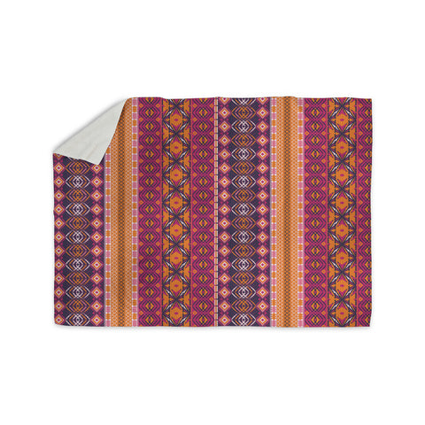 "Nandita Singh ""Banjara-Purple And Pink"" Purple Pink Digital Sherpa Blanket"