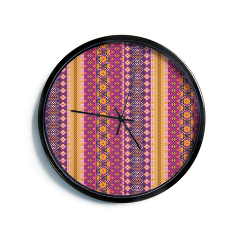 "Nandita Singh ""Banjara-Purple And Pink"" Purple Pink Digital Modern Wall Clock"