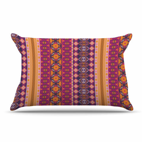 "Nandita Singh ""Banjara-Purple And Pink"" Purple Pink Digital Pillow Sham"