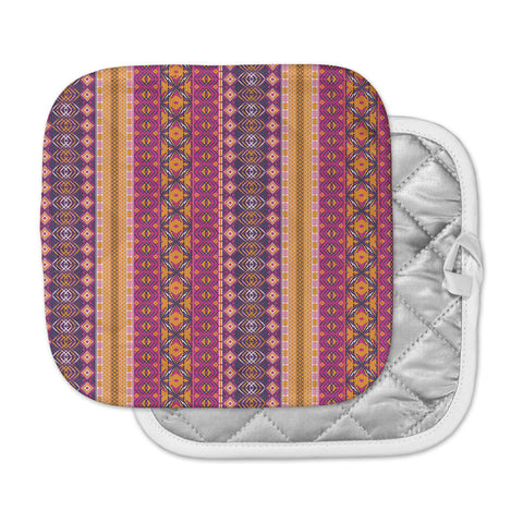 "Nandita Singh ""Banjara-Purple And Pink"" Purple Pink Digital Pot Holder"