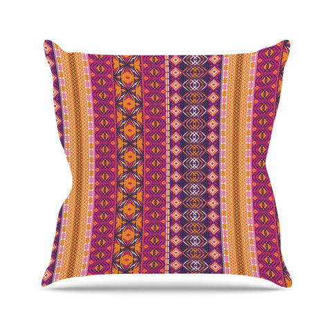 "Nandita Singh ""Banjara-Purple And Pink"" Purple Pink Digital Outdoor Throw Pillow"