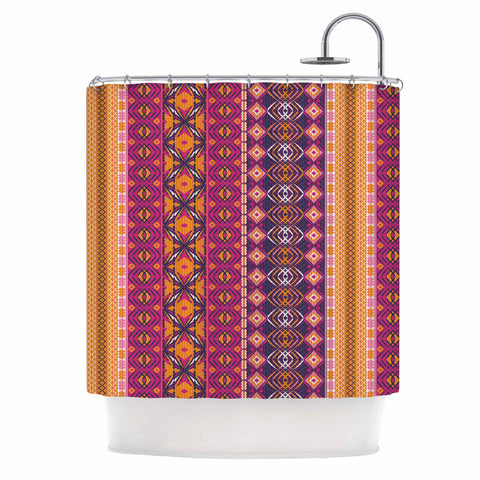 "Nandita Singh ""Banjara-Purple And Pink"" Purple Pink Digital Shower Curtain"
