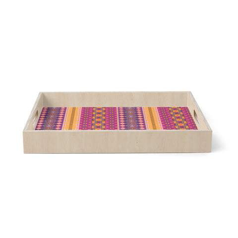 "Nandita Singh ""Banjara-Purple And Pink"" Purple Pink Digital Birchwood Tray"