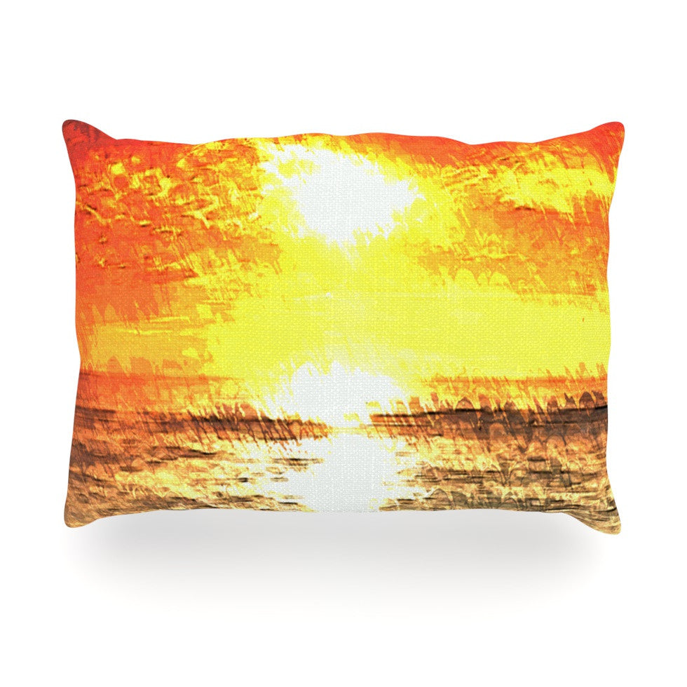 "Oriana Cordero ""Riviera"" Orange Yellow Oblong Pillow - KESS InHouse"