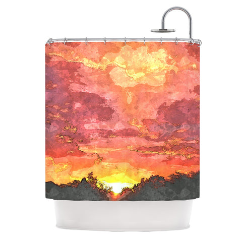 "Oriana Cordero ""Horizon"" Orange Sky Shower Curtain - Outlet Item - KESS InHouse"