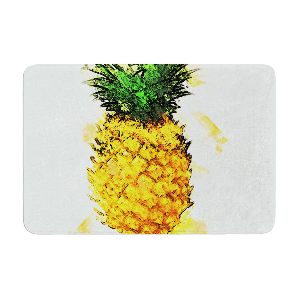 "Oriana Cordero ""Slice of Summer"" White Yellow Memory Foam Bath Mat - KESS InHouse"