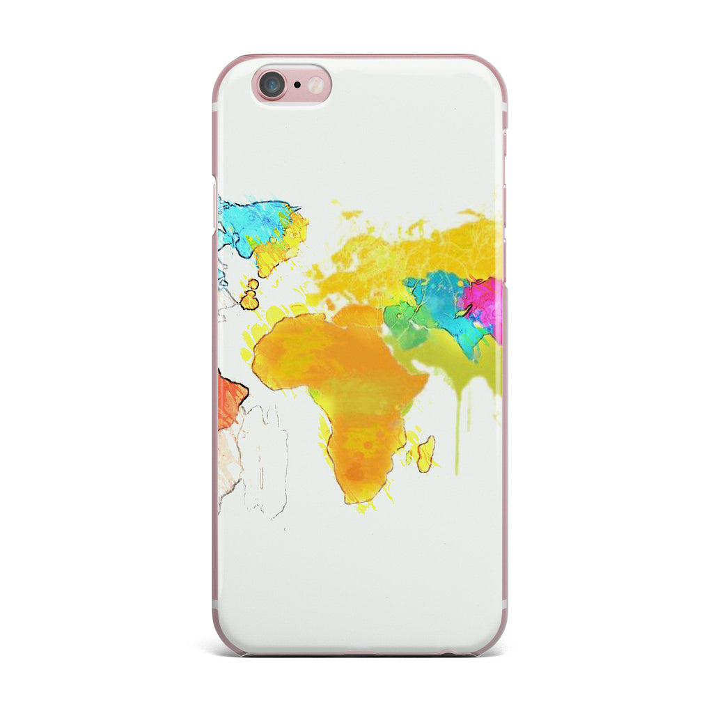 "Oriana Cordero ""World Map"" Rainbow White iPhone Case - KESS InHouse"