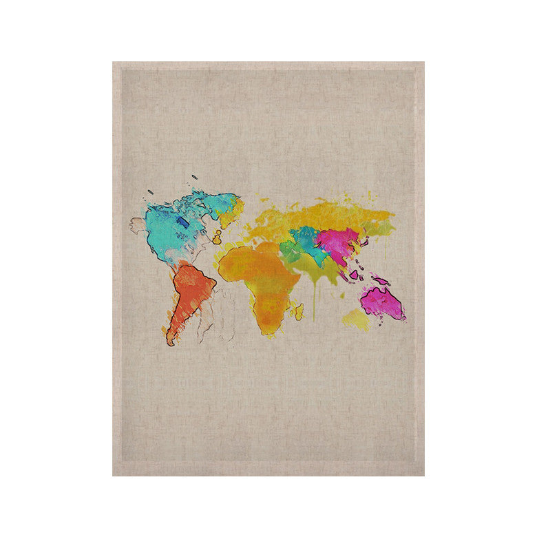 "Oriana Cordero ""World Map"" Rainbow White KESS Naturals Canvas (Frame not Included) - KESS InHouse  - 1"