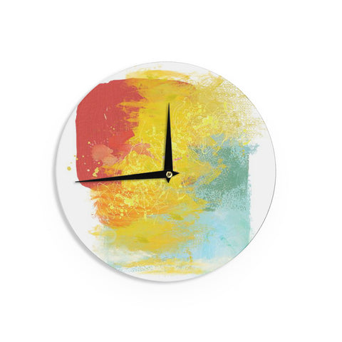 "Oriana Cordero ""Medley"" Colorful Paint Wall Clock - KESS InHouse"