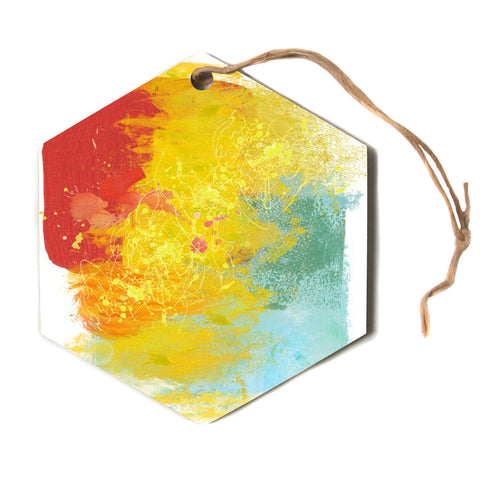 "Oriana Cordero ""Medley"" Colorful Paint Hexagon Holiday Ornament"
