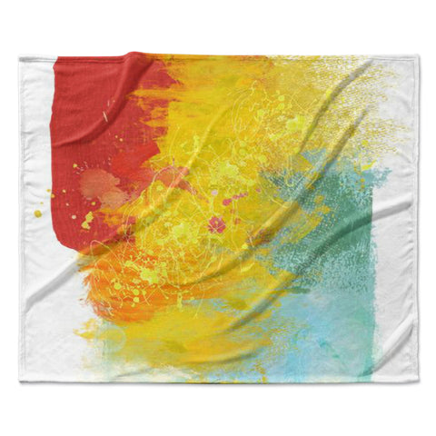 "Oriana Cordero ""Medley"" Colorful Paint Fleece Throw Blanket"