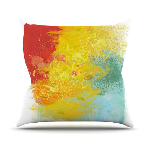 "Oriana Cordero ""Medley"" Colorful Paint Outdoor Throw Pillow - KESS InHouse  - 1"