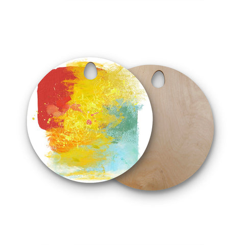 "Oriana Cordero ""Medley"" Colorful Paint Round Wooden Cutting Board"