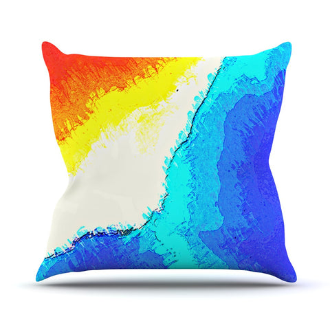 "Oriana Cordero ""Amalfi Coast"" Blue White Outdoor Throw Pillow - KESS InHouse  - 1"
