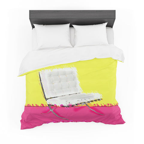 "Oriana Cordero ""Barcelona Chair"" Pink Yellow Featherweight Duvet Cover"