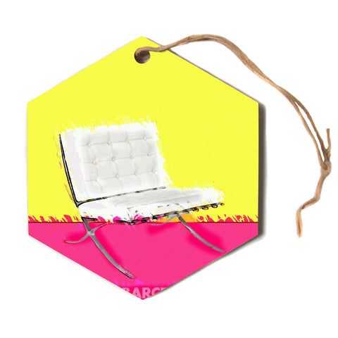 "Oriana Cordero ""Barcelona Chair"" Pink Yellow Hexagon Holiday Ornament"
