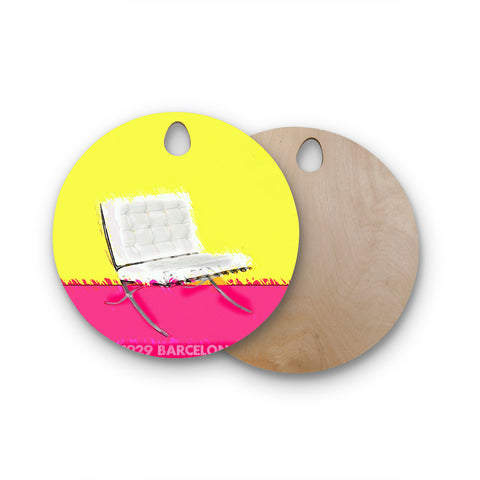 "Oriana Cordero ""Barcelona Chair"" Pink Yellow Round Wooden Cutting Board"