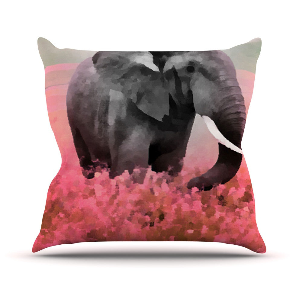 "Oriana Cordero ""Ele-Phant"" Pink Gray Throw Pillow - KESS InHouse  - 1"