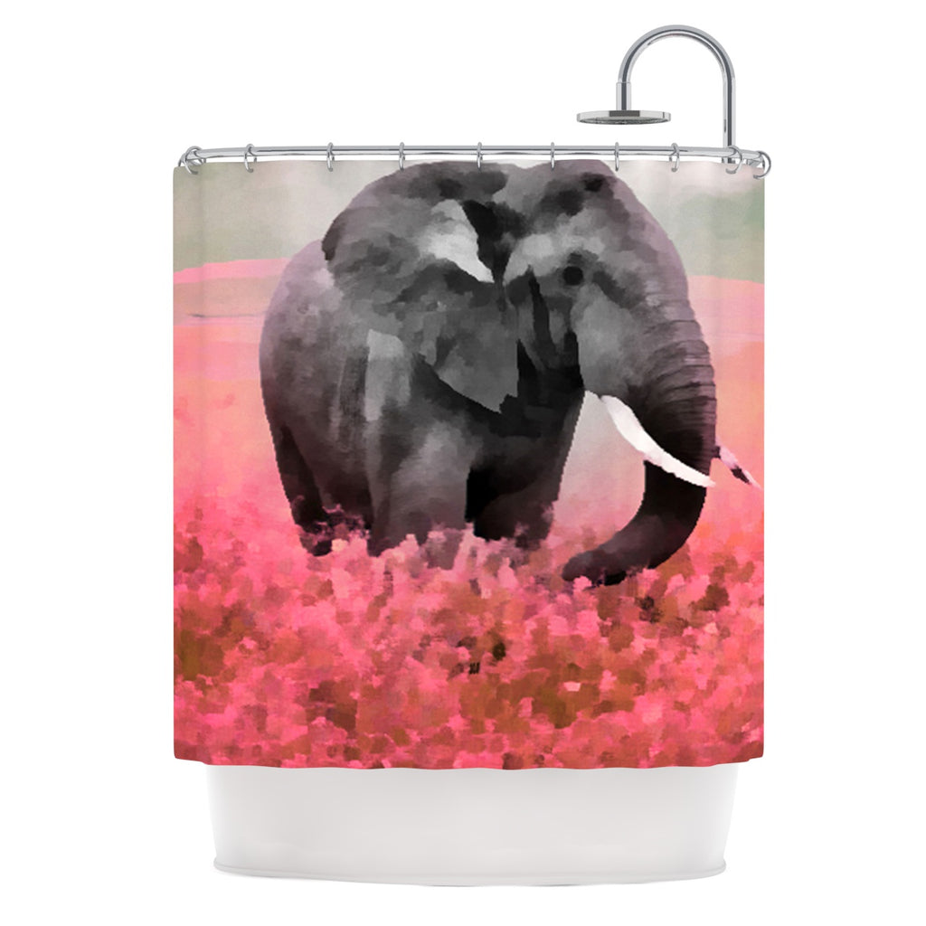 "Oriana Cordero ""Ele-Phant"" Pink Gray Shower Curtain - Outlet Item"