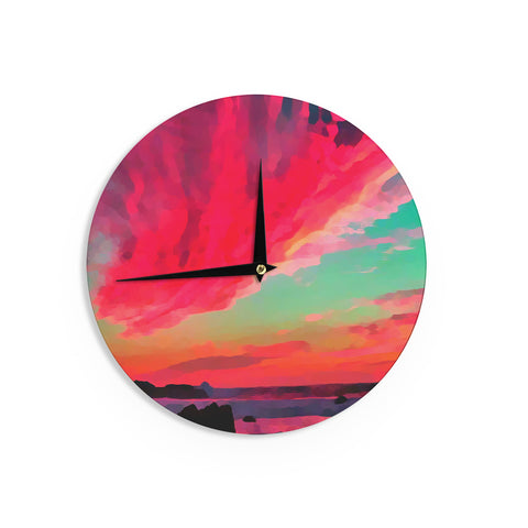 "Oriana Cordero ""Apetto All'alba"" Red Teal Wall Clock - KESS InHouse"
