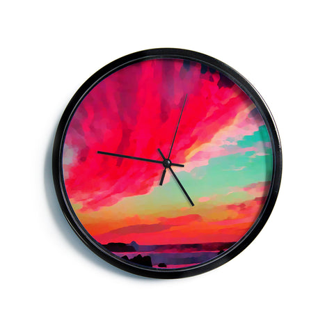 "Oriana Cordero ""Apetto All'alba"" Red Teal Modern Wall Clock"