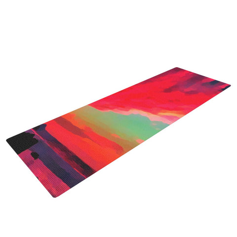 "Oriana Cordero ""Apetto All'alba"" Red Teal Yoga Mat - KESS InHouse  - 1"