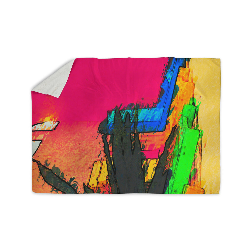 "Oriana Cordero ""Days of Summer"" Rainbow Abstract Sherpa Blanket - KESS InHouse  - 1"