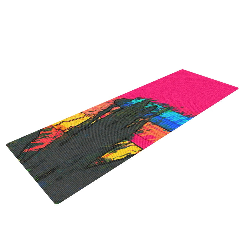 "Oriana Cordero ""Days of Summer"" Rainbow Abstract Yoga Mat - KESS InHouse  - 1"
