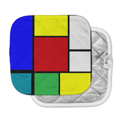 "Oriana Cordero ""Mondrian & Me"" Multicolor Squares Pot Holder"