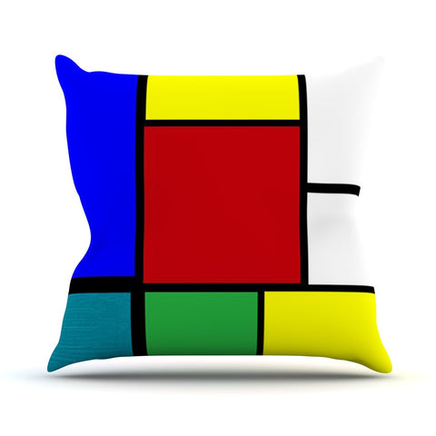 "Oriana Cordero ""Mondrian & Me"" Multicolor Squares Throw Pillow - KESS InHouse  - 1"
